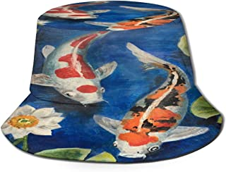Fisherman Hat Colorful Koi Fish Pond Water Lily Sun Hat Women Men Eye Protect Breathable Bonnie Cap 3D Printed Beach Hat Durable&Reversible for Summer Outdoor