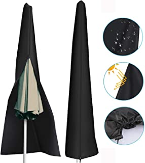Julujiao Tech Waterproof 210D Patio Umbrella Zipper Cover fit 9ft to 11ft Umbrellas Canopy Patio Garden Outdoor (Black)