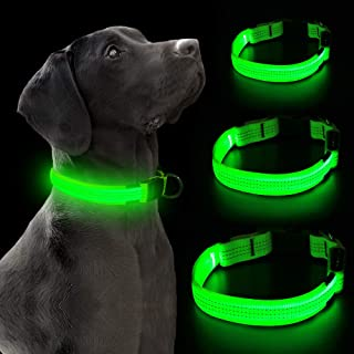 VIZPET LED Dog Collar Light USB Rechargeable Light Up Collar Adjustable Glowing Pet Collar Super Bright for Night Safety D...
