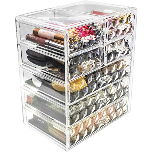 Sorbus Cosmetics Makeup and Jewelry Big Storage Case Display  Stylish Vanity Bathroom Case 3 Large 4 Small Drawers Diamond