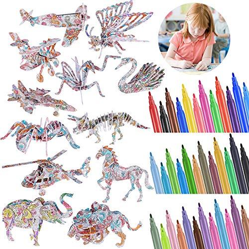 Faburo 48pz Puzzle da Colorare 3D per Bambini, Kit Pittura Artigianato Fai-da-Te Regalo per Ragazze e Ragazzi Arte e Artigianato per Bambini Regali di Compleann