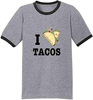 I Love Tacos Heart Funny Cute Favorite Food Mexican Ringer T-Shirt