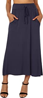DJT Women's High Waist Flared Skirt Pleated Midi Skirt with Pocket