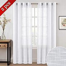 "NICETOWN Sheer Curtains for Doors with Window - Grommet Top Design Linen Textured Look Drapes for Bedroom/Study Room/Sliding Door (52"" x 84"", 2-Pack, White)"