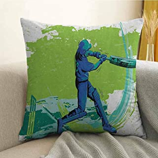 Sports Bedding Soft Pillowcase Cricket Player Pitching Win Game Champion Team Paintbrush Effect Hypoallergenic Pillowcase W20 x L20 Inch Navy Blue Turquoise Lime Green