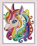 CaptainCrafts - Kits de punto de cruz, con estampado preimpreso, para principiantes, niños y adultos, unicornio de colores Con sello de 11 quilates.