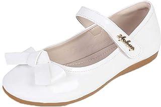 Zapatos Mary Jane para niñas Zapatos Planos de Cuero con Lazo de Punta Redonda de Color sólido Zapatos de Princesa de Fies...