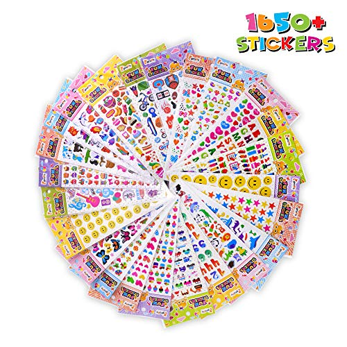 3D Stickers for Kids - 1650 + Assorted Puffy Stickers for Kids Variety Pack for Sticker Books or Scrapbooking -Toddlers, Girls and Boys Includes Animal Stickers, Number, Alphabet, Dinosaurs and Stars
