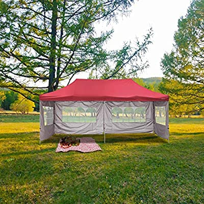 Leisurelife Outdoor Pop Up 10'x20' Canopy Tent with Sidewall 6 PCS - Folding Commercial Gazebo Party Tent Blue Red White with Wheeled Carry Bag (Blue with 4 sidewalls)
