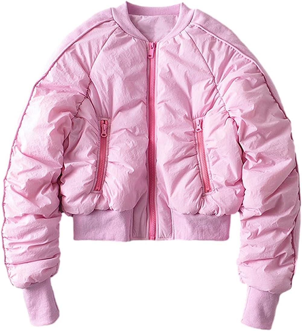 AMEBELLE Women's Crop Down Jackets Full Zip Loose Lounge Puffer Bomber Coats