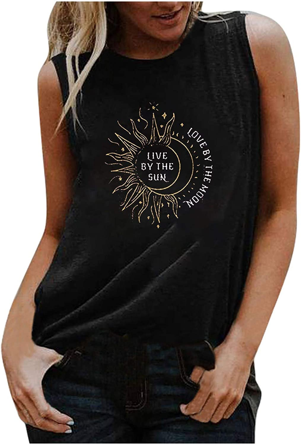 977 Women Tank Tops Round Neck Summer Sleeveless T-Shirts Loose Breathable Basic Vest Comfy Workout Tunic Tee