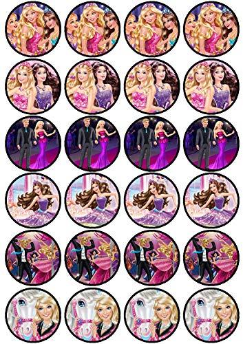 24 Muffin & Cupcake Aufleger Fondant Barbie C1