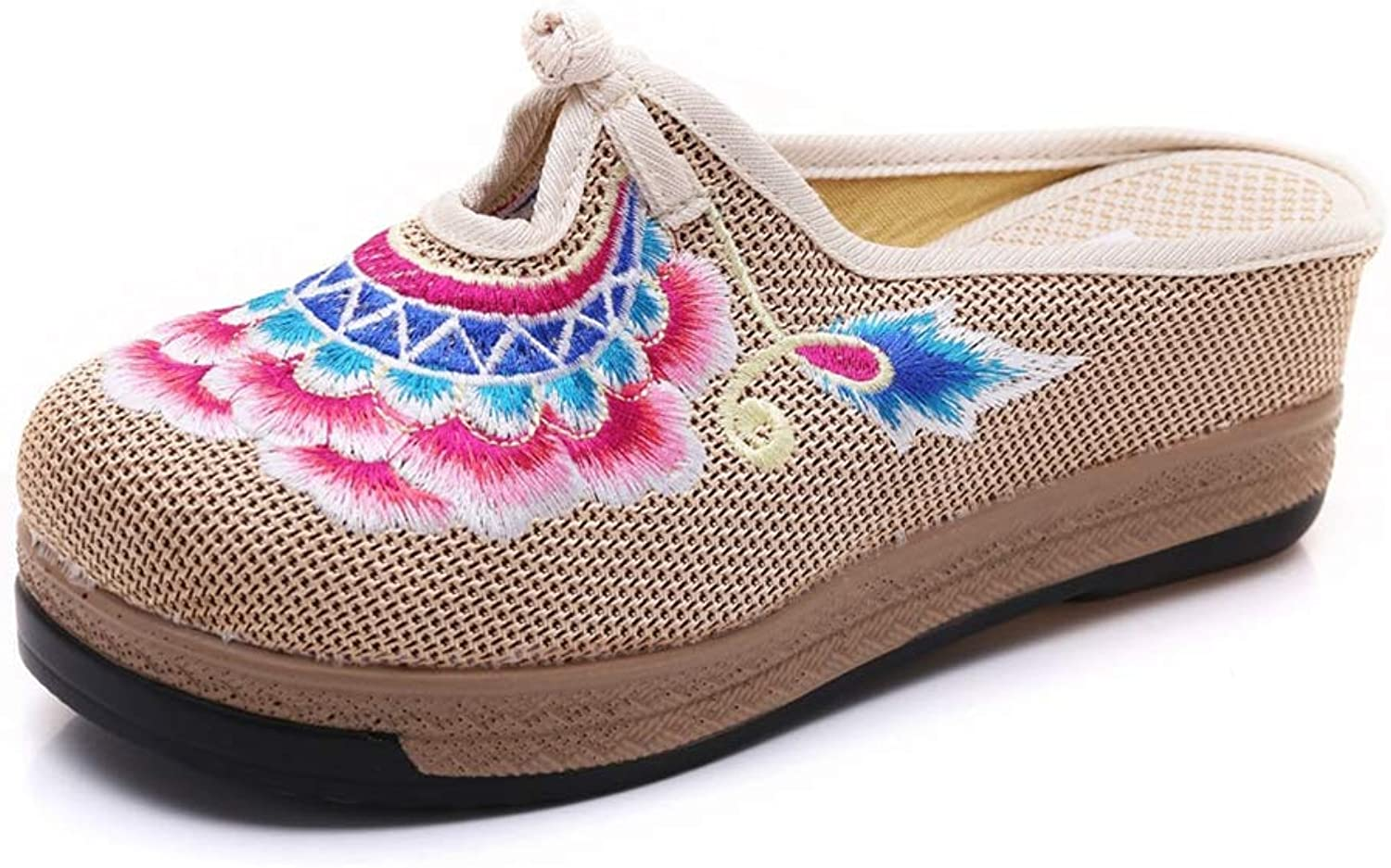 T-JULY Women Close Toe Slippers Ethnic Embroidery Mixed Style Wedges Spring High Heel shoes Ladies Platforms Sandals