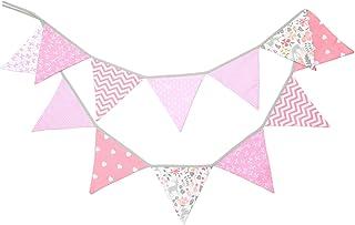 comprar comparacion PREMYO Banderines de Tela Infantiles - Guirnaldas Decoración Habitación Bebé Niña - Triángulos Colores Rosa