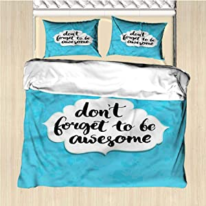 AndyTours Motivational Duvet Cover Size 3 Piece Be Awesome Quote Breathable & Cooling Queen
