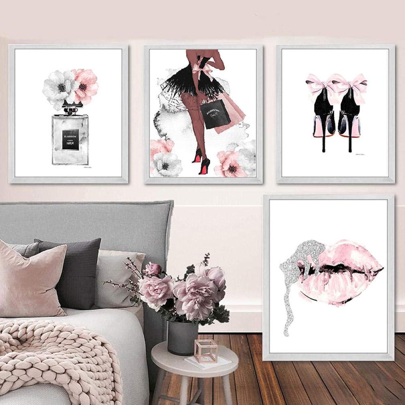 アクセス武器オリエントファッション壁アート香水唇ポスター北欧プリントハイヒールキャンバス絵画女性写真用リビングルーム現代装飾40×50センチ×4-フレームなし