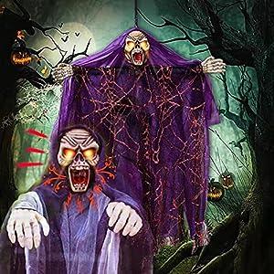 Halloween Control de voz Fantasma, Colgante Bruja Fantasma con ojos rojos intermitentes con capucha Espeluznante túnica, Embrujada Prop Terror Puerta de casa Bar Club Decoraciones de Halloween