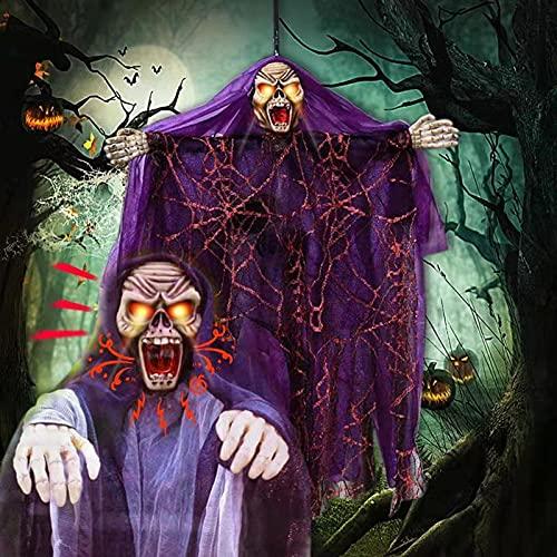 Halloween Control de voz Fantasma, Colgante Bruja Fantasma con ojos rojos intermitentes con capucha Espeluznante tnica, Embrujada Prop Terror Puerta de casa Bar Club Decoraciones de Halloween