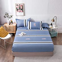 Fitted Bed Sheets,Brushed Printed Sheets, Non-Slip Protective Cover for Men and Women Double beds-Blue_150*200cm