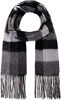 Atous Men's 100% Cashmere Scarf Soft and Warm Winter Scarves Grey Black