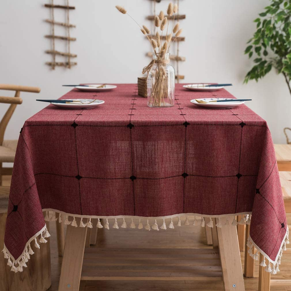 Stitching Tassel Ranking TOP2 Tablecloth Heavy Weight Table Linen Chicago Mall Clot Cotton