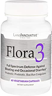 Lane Labs - Flora3, Full Spectrum Defense Against Gas, Bloating and Occasional Diarrhea, A Probiotic, Prebiotic, and Bacillus Coagulan in One (60 Vegetable Capsules)