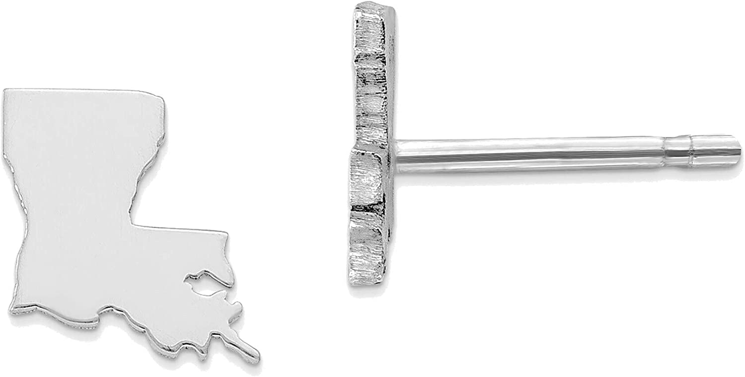 14kt White Gold LA Small State Earring