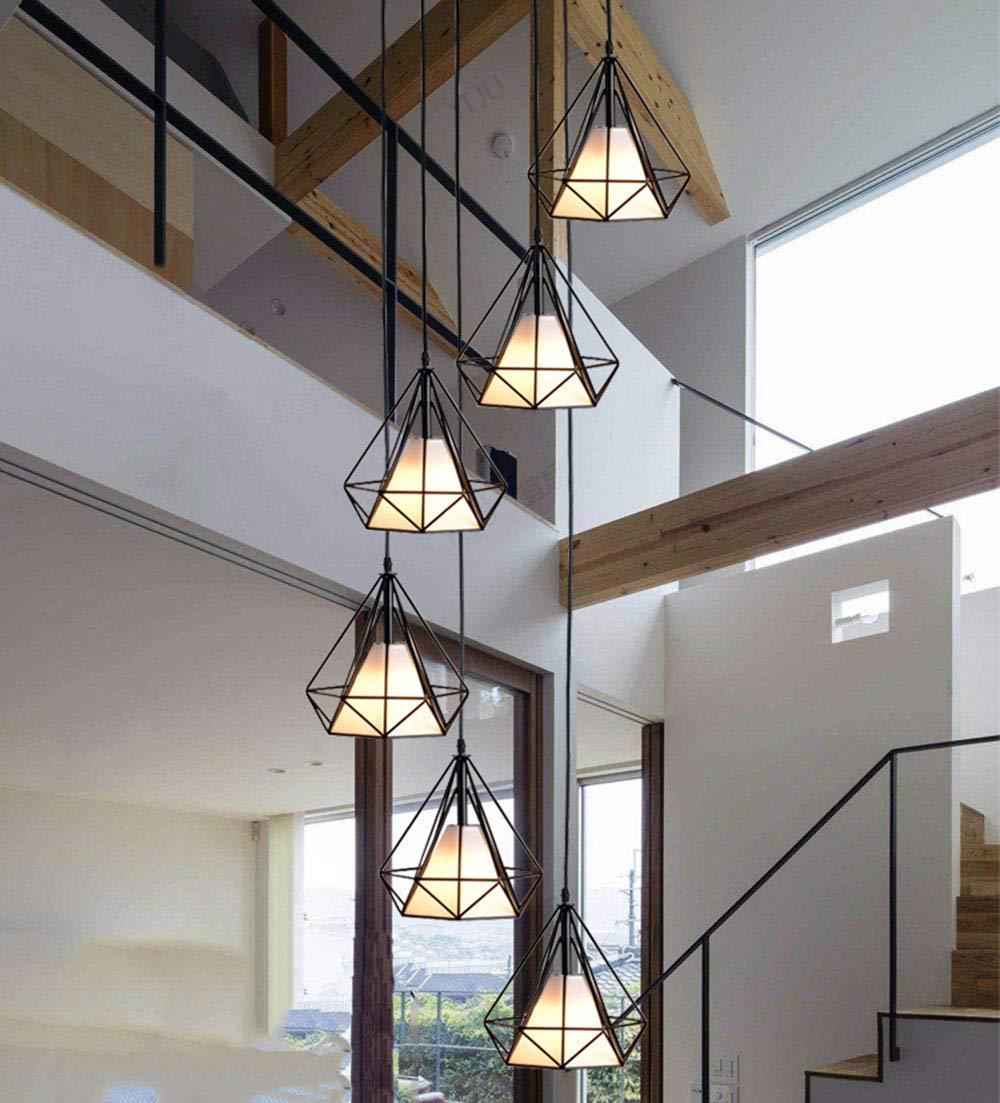 Beautiful Home Decoration Lamps Escalera de caracol retro pendiente de la lámpara de la lámpara Negro