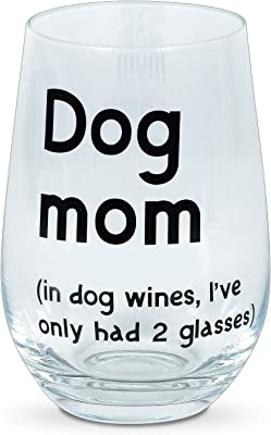 Enesco Our Name is Mud PARENTheses Dog Mom Stemless Wine Glass, 15 Ounce, Clear