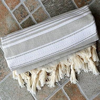 Dandelion - Basic Pattern - Naturally-Dyed Cotton Turkish Towel Peshtemal - 71x39 Inches - Silver Gray