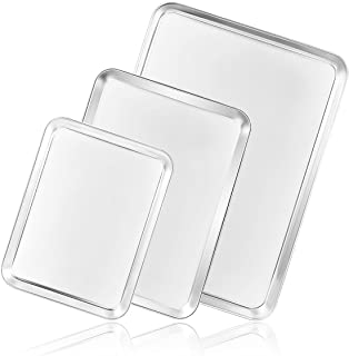 Cookie Sheet Baking Sheet Set of 3, Bastwe Commercial Grade Stainless Steel Baking Pan, Professional Bakeware Oven Tray, Healthy & Non-toxic, Rust Free & Mirror Finish, Easy Clean & Dishwasher Safe