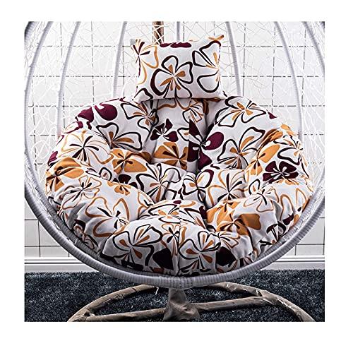 Cojín para silla con cesta colgante - Cojines gruesos para silla tipo hamaca con forma de huevo para colgar de 120 cm con almohada para la cabeza - Cojín para silla de columpio de jardín para interi