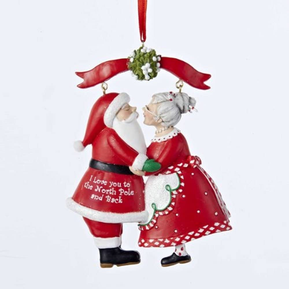 Kurt Adler 3 75 Resin Mr Mrs Santa Under Mistletoe Ornament Home Kitchen