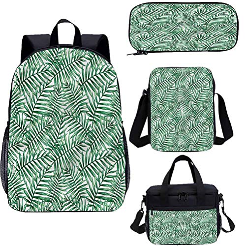 "Leaf 17 ""mochila con bolsa de almuerzo conjunto de estuches,Rainforest Vegetation Fresh 4 en 1 conjuntos de mochila"