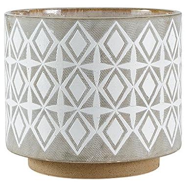 Rivet Geometric Ceramic Planter, 8.7  H, White and Grey