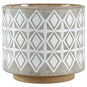 "Silk Flower Arrangements Amazon Brand – Rivet Geometric Ceramic Planter Pot, 8.6""H, Grey"