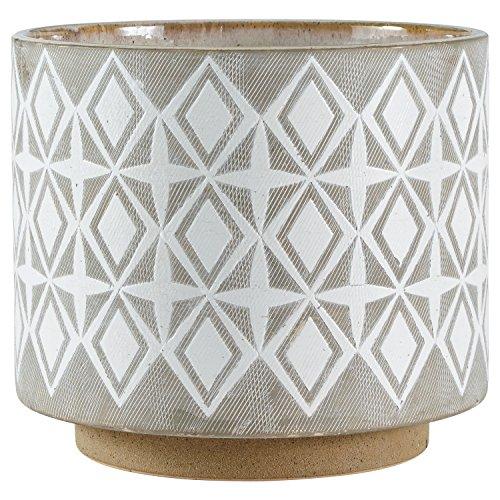 Rivet Geometrischer Pflanztopf aus Keramik, 22,1 cm hoch, Weiß und Grau