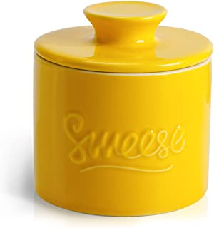 Sweese 304.105 Porcelain Butter Keeper Crock - French Butter Dish - No More Hard Butter - Perfect Spreadable Consistency, Yellow