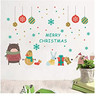 GUOXIN12 Merry Christmas Decoration Snowman Rabbit Wall Sticker, Decals Window Party Shop Wall Stickers,New Year Home Decor Poster Mural
