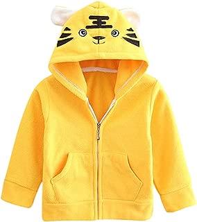 Toddler Kids Baby Girls Boys 3D Cartoon Animal Ear Hooded Sweatshirt Zip up Fleece Jacket