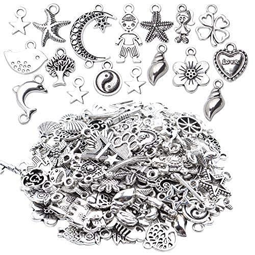 Aylifu Schmuckanhänger Basteln, 100 STK gemischte DIY Halskette Anhänger Schmuck Charm Metallanhänger für Armband Halskette Ohrring - antikes Silber