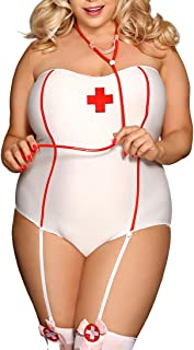 a568444da90 Belgius Women Sexy Lingerie Nurse Costume Outfit Set Plus Size Cosplay  Nightwear with Hat