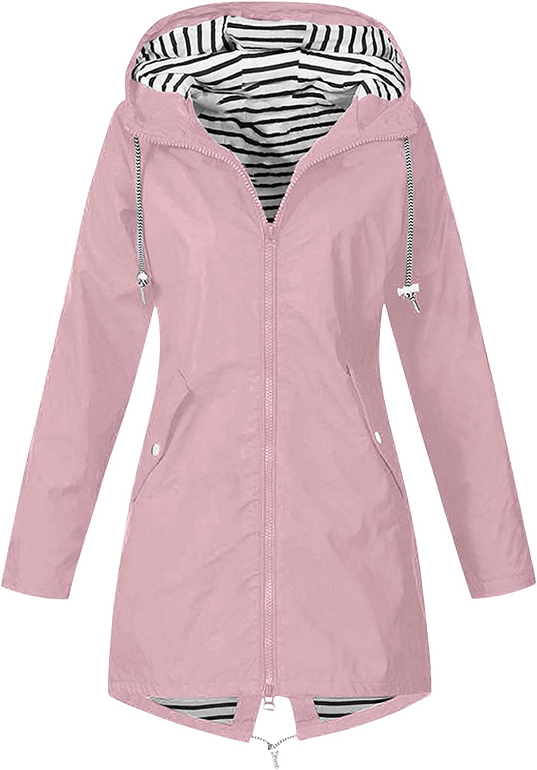 Kcocoo Jackets for Women, Windproof Raincoat Outdoor with Hooded Windbreaker Coats Active Lightweight Long Breathable Jackets