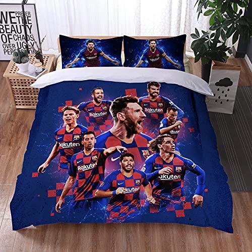 AINYD 3D Druck FC Barcelona Bettwäsche Set 135x200cm, Messi Bettzeug, 1 Bettbezug mit Reißverschluss + 1 Kissenbezug, Atmungsaktiv Bettwäsche, Geeignet für Erwachsene & Kinder