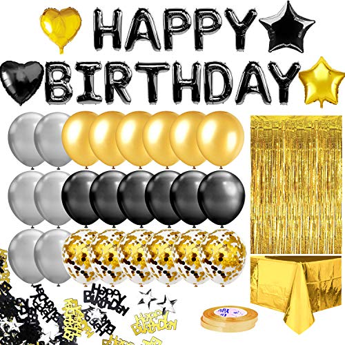 MOVINPE Black Gold Birthday Party Decoration, Black Happy Birthday Banner, Golden Fringe Curtain, Foil Tablecloth, Heart Star Confetti Balloons, 10g Table Confetti for Girl Boy Kids Men Women Adults