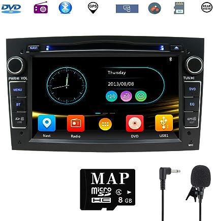 Hotaudio Car Stereo Satellite GPS Navigator para Opel, Unidad Head 7 Pulgadas 2 DIN Car Stereo con Soporte para Reproductor de CD y DVD GPS, USB SD, FM Am RDS, Bluetooth, SWC(Negro)