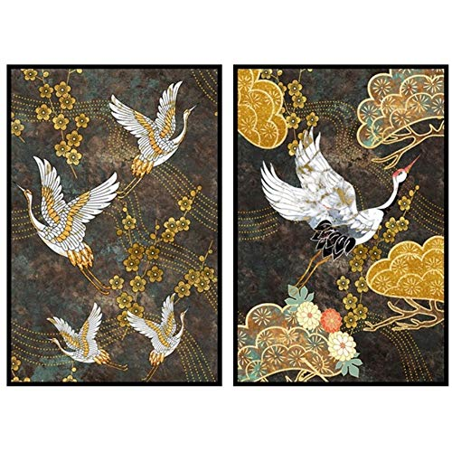 HSFFBHFBH Wand Kunstdruck Leinwand Gemälde Chinesischer Weißer Kranich Und Goldene Glücksverheißende Wolken Und Blumen Poster Wohnzimmer Wohnkultur 30x40 cm (11,8