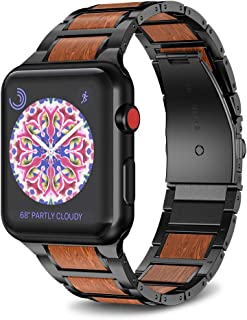 NotoCity Compatible with Apple Watch Band 42mm 44mm Stainless Steel Natural Wooden Red Sandalwood Watch Strap for Men Women(Black)