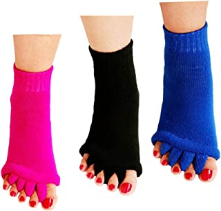 ReachTop Toe Separator Socks, 3 Pairs Foot Alignment Socks Yoga Gym Massage Toeless Socks Pain Relief Improves Circulation Stretchy Happy Feet Socks for Women Men (Black & Hot Pink & Blue)