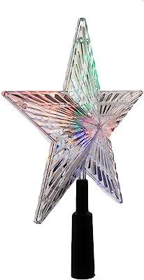 Kurt Adler LED Color-Changing Light Star Treetop, 8.5-Inch